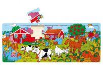 HM STUDIO Deskové puzzle farma dřevěné 21 dílů