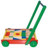 HM STUDIO Vozík dřevěný velký s kostkami