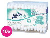 10x LINTEO BABY Papierove vatové tyčinky box (65 ks)