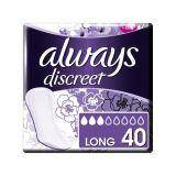 ALWAYS DISCREET Inkontinenční intimky Long, vhodné také při úniku moči 40 ks
