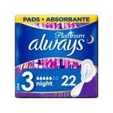 ALWAYS Platinum Night Vložky hygienické 22 ks