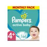 PAMPERS Active Baby 4+ (10-15 kg) 164 ks Maxi měsíční balení - jednorázové pleny