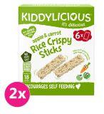 2x KIDDYLICIOUS Křupavé rýžové tyčinky s jablkem a mrkví (6 x 10 g)