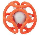 NATTOU Kousátko silikonové míč 2v1 bez BPA 10 cm oranžovo-šedá