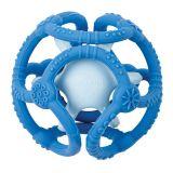 NATTOU Hryzačka silikónová lopta 2v1 bez BPA 10 cm modrá