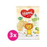 3x HAMI Výletní BIO rýžová kolečka s jablky a chutí pomeranče 40 g, 6+