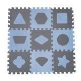 BABYDAN Pěnová hrací podložka puzzle Geometrické tvary, Blue 90 x 90 cm