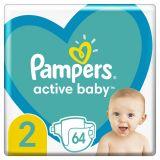 PAMPERS Active Baby jednorazové plienky veľ. 2, 64 ks, 4-8 kg