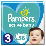 PAMPERS Active Baby jednorázové pleny vel. 3, 58 ks, 6-10 kg