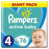 PAMPERS Active Baby jednorázové pleny vel. 4, 76 ks, 9-14 kg