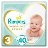 PAMPERS Premium Care jednorázové pleny, vel. 3, 40 ks, 6-10 kg
