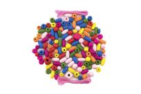 TEDDIES Korálky dřevěné barevné s gumičkami cca 90 ks v plastové dóze