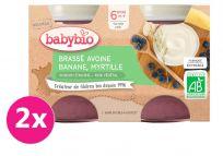 2x BABYBIO Brassé z ovseného mlieka banán čučoriedka 2x130 g