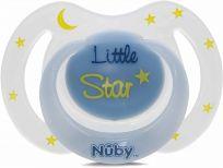 NUBY Dudlík silikonový oválný noční modro bílý 0-6 m
