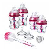TOMMEE TIPPEE Sada dojčenských fľaštičiek C2N Anti-colic s kefou Pink