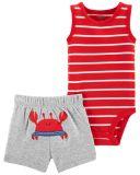 CARTER'S Set 2dílný body tílko, kalhoty kr. Red Stripe Crab chlapec 12 m, vel. 80