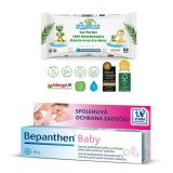 BEPANTHEN Masť Baby 30 g + obrúsky Happy Planet 100% BIO, 60 ks