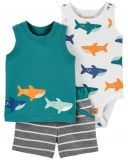 CARTER'S Set 3dílný body tílko, tričko bez rukávů, kalhoty kr. Green Shark chlapec 6 m, vel. 68