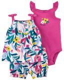 CARTER'S Set 3dílný body tílko, tunika, kalhoty kr. Multi Floral dívka 12 m, vel. 80