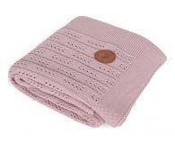 CEBA Deka pletená v dárkovém balení 90 x 90 růžová rybí kost