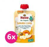 6x HOLLE Banana Lama Bio ovocné pyré banán, jablko, mango, marhuľa, 100 g (6 m+)