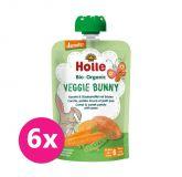 6x HOLLE Veggie Bunny Bio pyré mrkva, sladké zemiaky a hrášok, 100 g (6 m+)