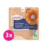 3x BABYBIO Polévka z máslové dýně s mrkví a kokosovým mlékem 190 g – zeleninový příkrm