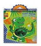 SES Omalovánky magické Dino s flitry modré/zelené