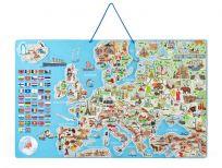 WOODY Mapa magnetická EVROPY, společenská hra  3 v 1, ČJ
