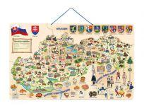 WOODY Mapa magnetická Slovenska s obrázky a společenská hra 3v1