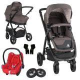 PETITE&MARS Kočárek Vario 3v1 Dark Grey s nafukovačkami, MAXI-COSI CabrioFix Essential Nomad Red