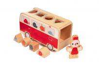 LILLIPUTIENS Autobus drevený vkladací so sliepočkou