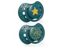 LOVI Dudlík silikonový dynamický Stardust 0-3 m 2 ks zelený
