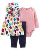 CARTER'S Set 3dílný vesta, body dl. rukáv, tepláky vícebarevná Leaves dívka 9m