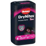 HUGGIES DryNites pro dívky 8-15 let, 9 ks (27-57 kg) - kalhotkové pleny