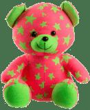 TEDDIES Medvídek svítící ve tmě růžový/zelený