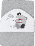 INTERBABY osuška dětská froté 100x100 medvídek s králíčkem přátelé - šedá
