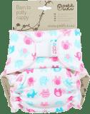 PETIT LULU Kalhotková plena na suchý zip (4 – 15 kg) - Sloníci tyrkys-růžoví