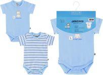 JACKY Body s krátkým rukávem Baby Boy 2 ks, vel. 62/68 - modrá, kluk