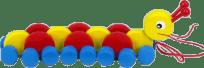 MIVA Gąsienica drewniana, do ciągnięcia - kolorowa