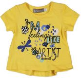 BOBOLI Triko s krátkým rukávem, motýl, vel. 98 cm - žlutá, holka