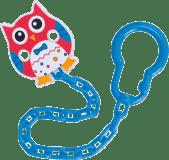CANPOL BABIES 10/876 Retiazka na cumlík sova - červená, modrá