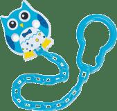 CANPOL BABIES Řetízek na šidítko sova – světle modrá
