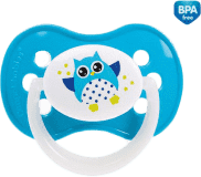 CANPOL BABIES Dudlík silikonový symetrický 0-6 m SOVA – světle modrá