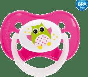 CANPOL BABIES Dudlík silikonový symetrický 6-18 m SOVA – růžová