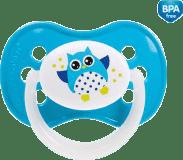 CANPOL BABIES Cumlík 22/569 silikónový symetrický 6-18 m Sova - svetlo modrá