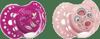 LOVI Dudlík silikonový dynamický FOLKY 0-3m 2 ks – fialová, růžová