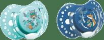 LOVI Dudlík silikonový dynamický FOLKY 0-3m 2ks – modrá