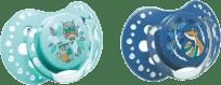 LOVI Dudlík silikonový dynamický FOLKY 3-6m 2ks – modrá
