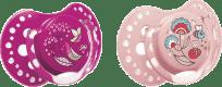 LOVI Dudlík silikonový dynamický FOLKY 6-18m 2 ks – fialová, růžová